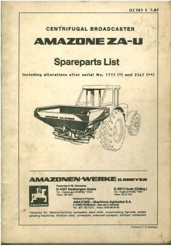 Amazone ZA-U Centrifugal Fertilizer Broadcaster Parts Manual