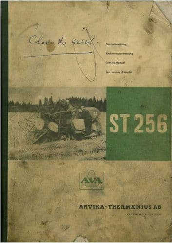 AVA Model ST256 Combine Operators Manual with Service Instructions