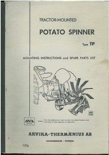 AVA Tractor Mounted Potato Spinner - Type TP Operators Manual with Parts List