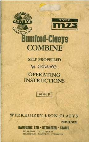 Bamford Claeys Combine Model M73 Operators Manual
