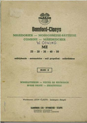 Bamford Claeys Combine Models MZ25 MZ30 MZ36 MZ40 MZ50 Parts Manual