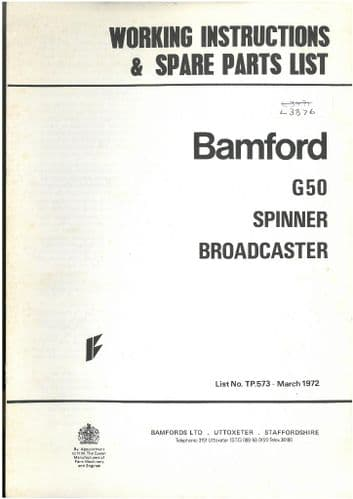 Bamford G50 Fertiliser Spreader Spinner Broadcaster Operators Manual with Parts List