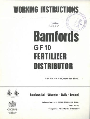 Bamford GF10 Fertiliser Distributor Spreader Spinner Broadcaster Operators Manual with Parts List