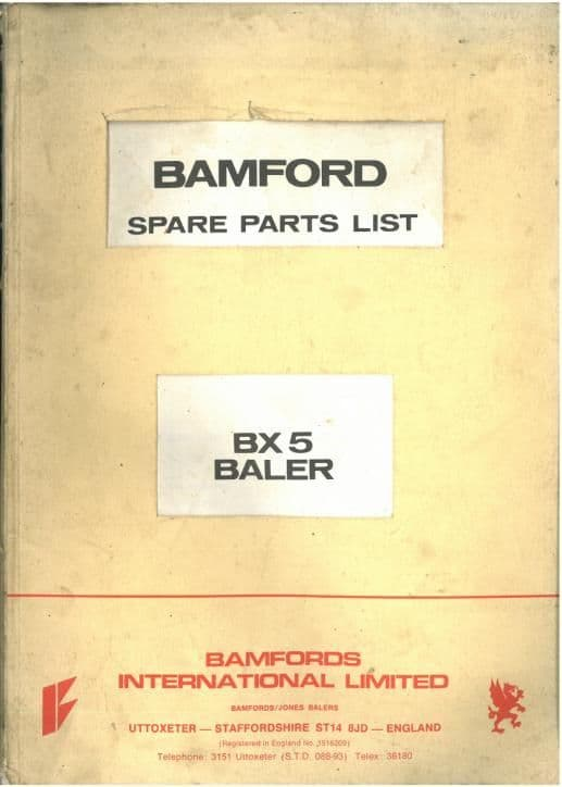 Bamfords Baler BX5 Parts Manual