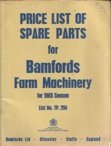 Bamfords Farm Machinery Price List of Spare Parts for 1965 Season