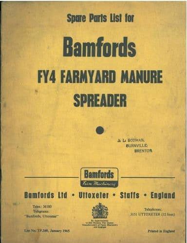Bamfords FY4 Farmyard Manure Spreader Parts Manual