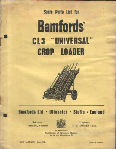 Bamfords Universal Crop Loader CL3 Parts Manual