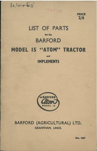 Barford Atom 15 Tractor and Implements Parts Manual