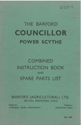 Barford Councillor Power Scythe Operators Manual with Parts List