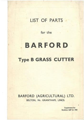 Barford Type B Grass Cutter Parts List - For Tractor