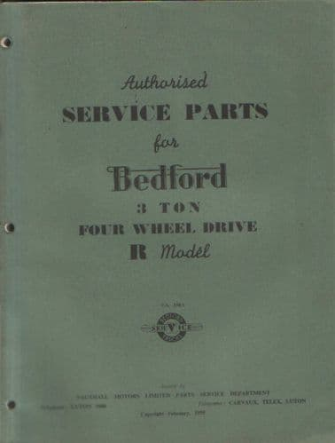 Bedford Lorry R Model Parts Manual