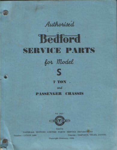 Bedford Lorry S Models Parts Manual