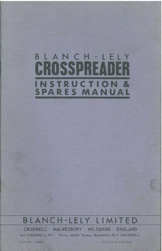 Blanch Lely Crosspreader Fertiliser Broadcaster Operators Manual with Parts List