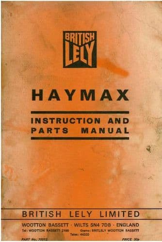 Blanch Lely Haymax Tedder Operators Manual with Parts List