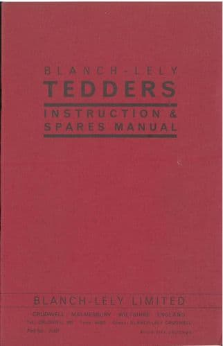Blanch Lely Tedder Operators Manual with Parts List - Hen & Cock Pheasant -ORIGINAL