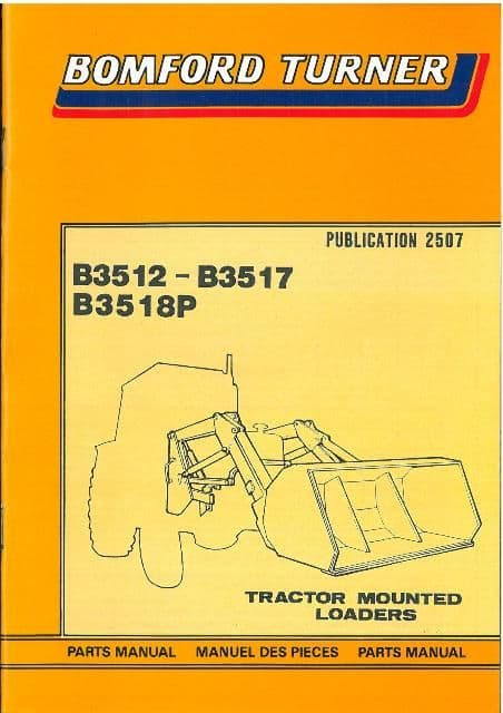 Bomford Turner Loader B3512 B3517 B3518P Parts Manual