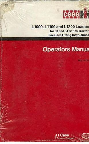Case IH Loader L1000 L1100 L1200 Operators Manual for 90 & 94 Series Tractors
