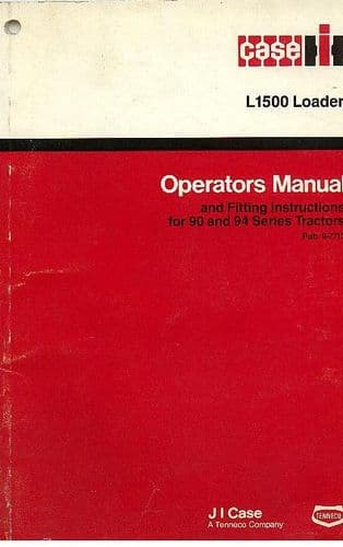 Case IH Loader L1500 Operators Manual for 90 & 94 Series Tractors