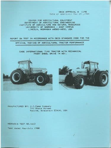 CASE INTERNATIONAL TRACTOR 7140 - MFWD (4WD) TEST REPORT  - CASE2 *ORIGINAL*