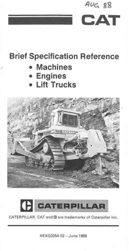 Cat Caterpillar Brief Specification Reference (Machines, Engines & Lift Trucks) Brochure