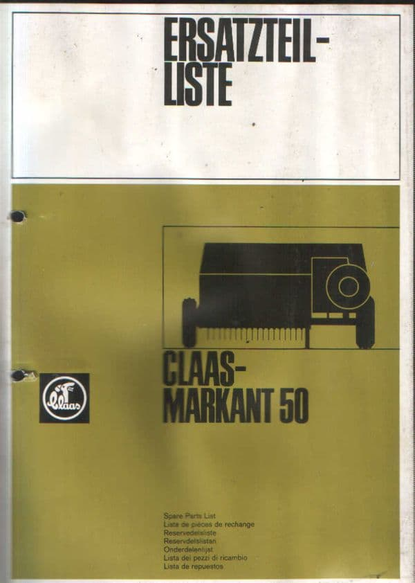 Claas Baler Markant 50 Parts Manual - IN GERMAN ONLY