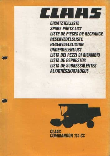 Claas Combine Commandor 114CS Parts Manual 114 CS
