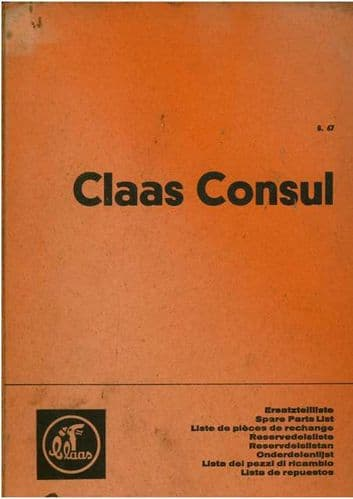 Claas Combine Consul Parts Manual