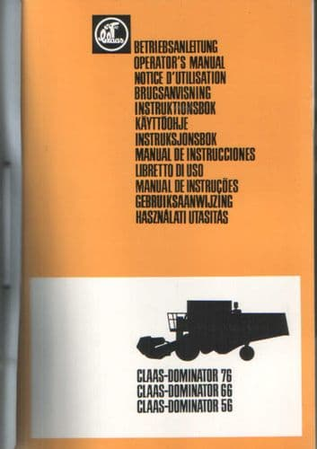 Claas Combine Dominator 56 66 76 Operators Manual