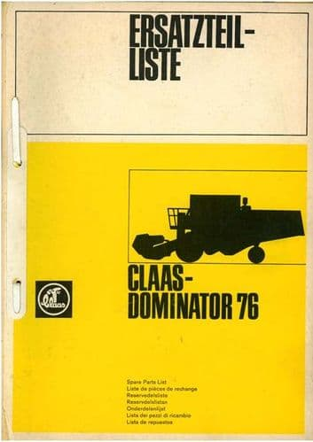 Claas Combine Dominator 76 Parts Manual