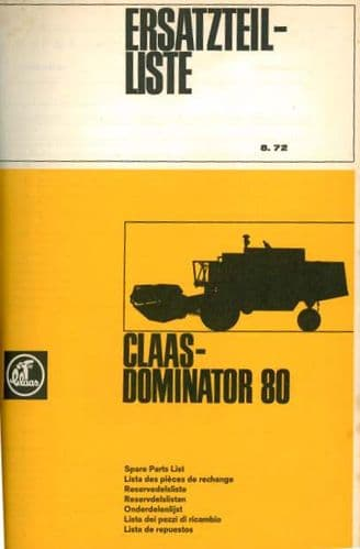 Claas Combine Dominator 80 Parts Manual