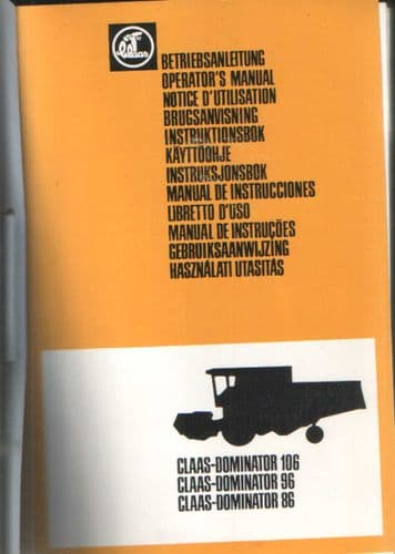 Claas Combine Dominator 86 96 106 Operators Manual