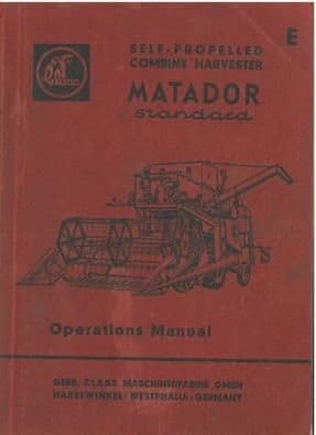 Claas Combine Matador Standard Operators Manual