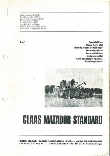 Claas Combine Matador Standard Parts Manual
