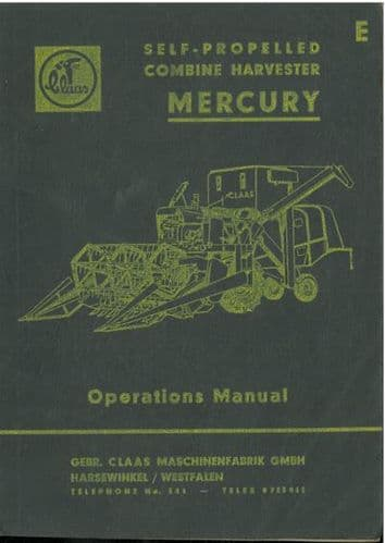 Claas Combine Mercury Operators Manual