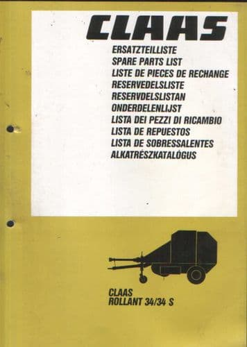 Claas Round Baler Rollant 34 & 34S Parts Manual