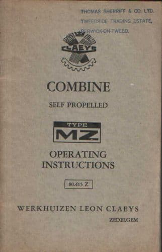 Claeys Combine Model MZ Operators Manual