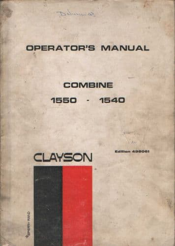 Clayson Combine 1540 1550 Operators Manual