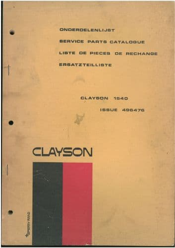 Clayson Combine 1540 Parts Manual - ORIGINAL MANUAL