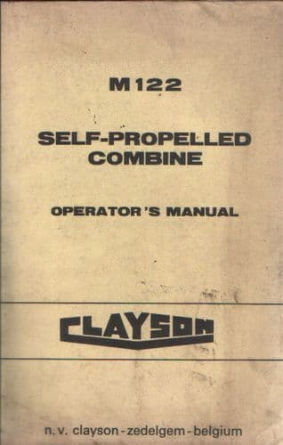 Clayson Combine M122 Operators Manual