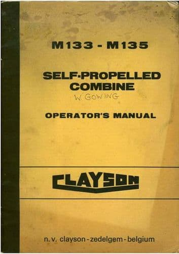 Clayson Combine M133 & M135 Operators Manual