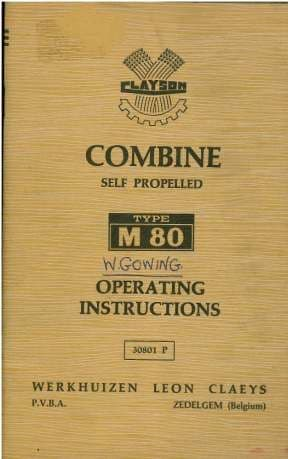 Clayson Combine M80 Operators Manual