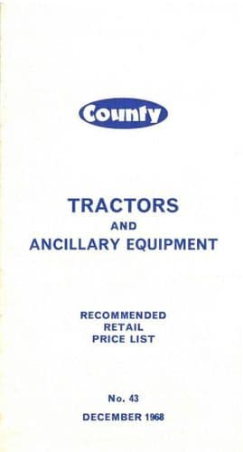 County Tractor - 754 1004 1124 754FC 1004FC Price List - Dated Dec 1968