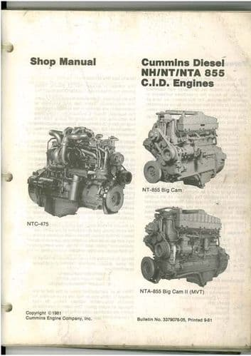 Cummins NH855 NT855 NTA885 - 855 C.I.D Engine Workshop Service Manual