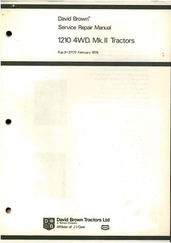 David Brown Tractor 1210 4WD MkII Workshop Service Manual - 4WD Only