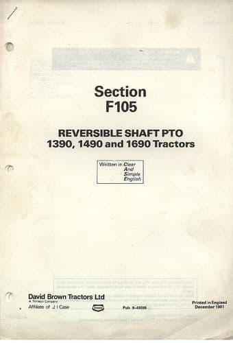 David Brown Tractor 1390 1490 1690 Reversible Shaft PTO Service Manual