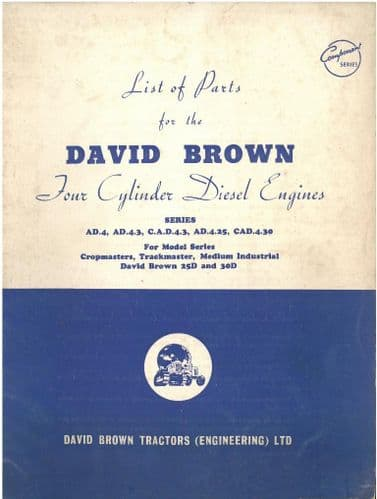 David Brown Tractor 4 Cylinder Diesel Engine Series AD.4, AD.4.3, CAD.4.3, AD.4.25, CAD.4.30 Parts
