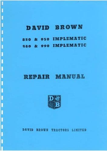 David Brown Tractor 850 880 950 990 Implematic Service Workshop Manual