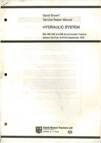 David Brown Tractor 885, 990, 995, 996 Synchromesh Models Hydraulic System Workshop Service Manual