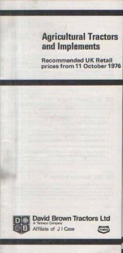 David Brown Tractor Price List - Oct 1976