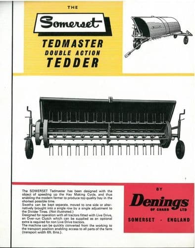 Denings of Chard Somerset Tedmaster Double Action Tedder Brochure